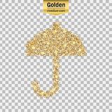 Gold glitter  icon of umbrella isolated on background. Art creative concept illustration for web, glow light confetti, brigh Royalty Free Stock Photography