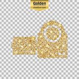 Gold glitter  icon. Of video camera isolated on background. Art creative concept illustration for web, glow light confetti, bright sequins, sparkle tinsel Stock Image