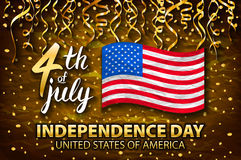 Gold glitter Independence day USA greeting card, flyer. July fourth poster. Patriotic banner for website template. Usable for 4th. Of July background, logo Stock Image