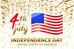 Gold glitter Independence day USA greeting card, flyer. July fourth poster. Patriotic banner for website template. Usable for 4th. Of July background, logo Royalty Free Stock Photography