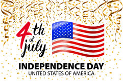 Gold glitter Independence day USA greeting card, flyer. July fourth poster. Patriotic banner for website template. Usable for 4th. Of July background, logo Stock Photos