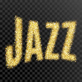 Gold glitter Inscription jazz. Golden sparcle word jazz on black transparent background. Amber particles. Royalty Free Stock Photos