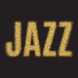 Gold glitter Inscription jazz. Golden sparcle word jazz on black transparent background. Amber particles. Royalty Free Stock Photo