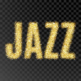 Gold glitter Inscription jazz. Golden sparcle word jazz on black transparent background. Amber particles. Stock Images