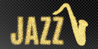 Gold glitter  Inscription jazz and saxophone. Golden sparcle word jazz on black transparent background. Amber particles gold Stock Images