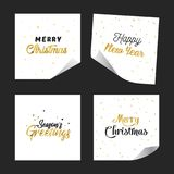Gold glitter lettering paper design stickers. Happy New Year. Merry Christmas. Royalty Free Stock Image