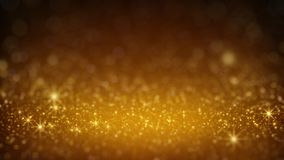 Gold glitter in light rays rendered with DOF. Gold glitter in light rays. Abstract holiday background. Computer generated rendering with shallow DOF Royalty Free Stock Photos