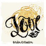 Gold Glitter Love Concept Hand Lettering Motivation Poster. Stock Photos