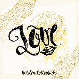 Gold glitter love concept hand lettering motivation poster. Stock Photography