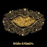 Gold glitter love concept hand lettering motivation poster. Stock Image