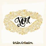 Gold glitter love concept hand lettering motivation poster. Stock Photo