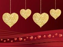 Gold glitter love hearts Stock Photos