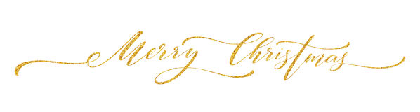 Gold glitter Merry Christmas lettering design. Greeting card with golden glittering decoration. Vector illustration. EPS10 Royalty Free Stock Image