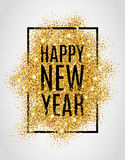 Gold glitter New Year. Happy new year. Gold glitter New Year. Gold background for flyer, poster. Sign symbol. Banner, web, header. Abstract golden background for royalty free illustration