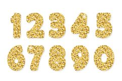 Gold glitter numbers. For birthday and party festive design. Vector EPS10 Royalty Free Stock Photography