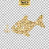 Gold glitter  object. Gold glitter  icon of fishing isolated on background. Art creative concept illustration for web, glow light confetti, bright sequins Stock Photography