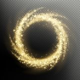 Gold glitter particle swirl fireworks light circle overlay effect. EPS 10 royalty free illustration