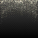 Gold glitter particles background effect for luxury greeting card. Sparkling texture. Star dust sparks vector. Gold and white glitter particles background effect stock illustration