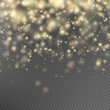 Gold glitter particles effect. EPS 10. Gold glitter particles background effect for luxury greeting rich card. Sparkling texture. Star dust sparks in explosion Royalty Free Stock Image