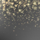 Gold glitter particles effect. EPS 10. Gold glitter particles background effect for luxury greeting rich card. Sparkling texture. Star dust sparks in explosion Stock Images