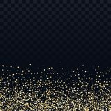Gold glitter particles on transparent background. Vector golden dust texture. Twinkling confetti, shimmering star lights royalty free illustration