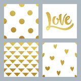 Gold glitter patterns set with various background and writing Stock Photos