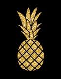Gold Glitter Pineapple. Summer Concept Background Vector Illustr Royalty Free Stock Photo