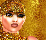 Gold glitter pop art image of a woman`s face. This is a digital art image of a close up woman`s face in pop art style. Colorful pop art image of a woman`s face Stock Image