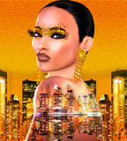 Gold glitter pop art image of a woman`s face. This is a digital art image of a close up woman`s face in pop art style. Colorful pop art image of a woman`s face royalty free stock photography