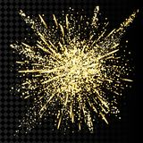 Gold glitter powder explosion. Golden dust and spark particles splash or shimmer burst. Stock Photo