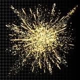Gold glitter powder explosion. Golden dust and spark particles splash or shimmer burst. stock photo
