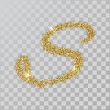 Gold glitter powder letter S in hand painted style. Vector illustration on transparent background royalty free illustration