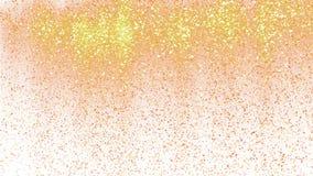 Gold glitter powder rain. Festive golden particles sparkle on green screen key