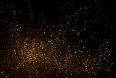 Gold glitter powder splash vector background. Golden scattered dust. Magic mist glowing. Stylish fashion black backdrop Stock Image