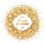 Gold Glitter Sequins with Frame Isolated Stock Photos