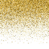 Gold glitter shine texture on a black background. Golden explosion of confetti. Golden abstract particles on a dark background. Isolated Holiday Design Royalty Free Stock Photo