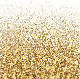 Gold glitter shine texture on a white background. Golden explosion of confetti. Royalty Free Stock Images