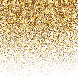 Gold glitter shine texture on a white background. Golden explosion of confetti. Golden abstract particles on a white. Background.  Holiday Design elements Royalty Free Stock Photo