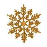 Gold glitter snowflake. One gold glitter snowflake isolated on white Royalty Free Stock Photo