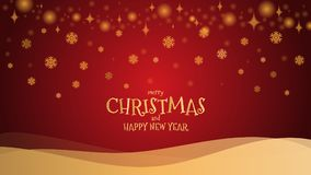 Gold glitter snowflake with mery christmas and happy new year. On red background, vector illustration Royalty Free Stock Photos
