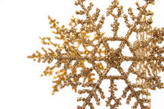 Gold Glitter Snowflake Ornaments Royalty Free Stock Image