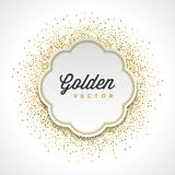 Gold Glitter Sparkles Bright Confetti White Paper Label Frame Vector Background Royalty Free Stock Images