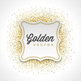 Gold Glitter Sparkles Bright Confetti White Paper Label Frame Vector Background Royalty Free Stock Image