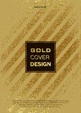 Gold, Glitter, Sparkles Design Template for Brochures, Invitation for New Year, wedding, birthday. Patina golden elements. Vector. Gold, Glitter, Sparkles Design Stock Photo