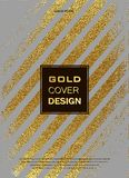 Gold, Glitter, Sparkles Design Template for Brochures, Invitation for New Year, wedding, birthday. Patina golden elements. Vector. Gold, Glitter, Sparkles Design Stock Images