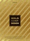 Gold, Glitter, Sparkles Design Template for Brochures, Invitation for New Year, wedding, birthday. Patina golden elements. Vector. Gold, Glitter, Sparkles Design Stock Image