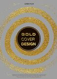 Gold, Glitter, Sparkles Design Template for Brochures, Invitation for New Year, wedding, birthday. Patina golden elements. Vector. Gold, Glitter, Sparkles Design Royalty Free Stock Photo
