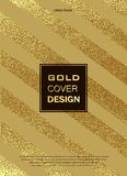 Gold, Glitter, Sparkles Design Template for Brochures, Invitation for New Year, wedding, birthday. Patina golden elements. Vector. Gold, Glitter, Sparkles Design Stock Photos