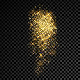 Gold glitter sparkles and light particles on vector transparent background. Gold sparkles and glittering powder spray. Sparkling glitter particles explosion on Royalty Free Stock Images