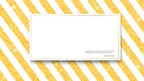 Gold glitter sparkles on striped white background with banner for text. Template for print design, vip cards, exclusive. Certificate, luxury gift, presentation Royalty Free Stock Images